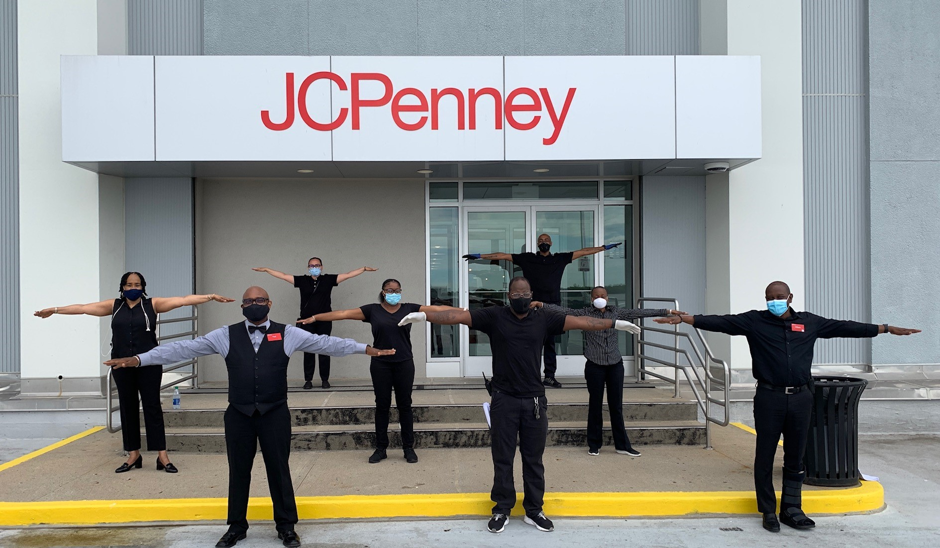 JCPenney employees social distancing and wearing masks