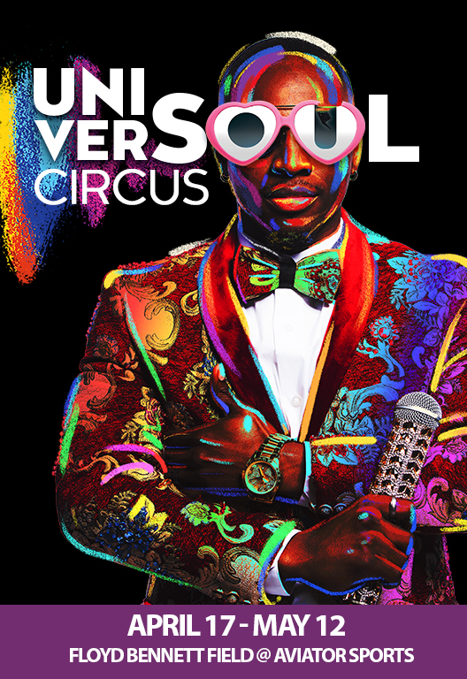 UniverSoul Circus 2019 April 17-May 12 at Floyd Bennett Field Man in colorful jacket holding microphone