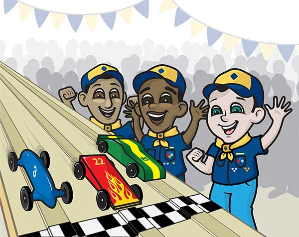 Pinewood Derby boys racing toy cars