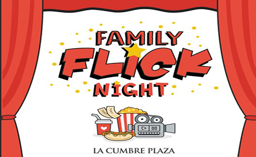 Family Flick Night logo with movie theater items