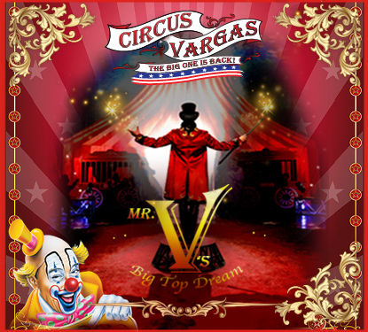 circus vargas flyer with ringmaster standing in the spotlight
