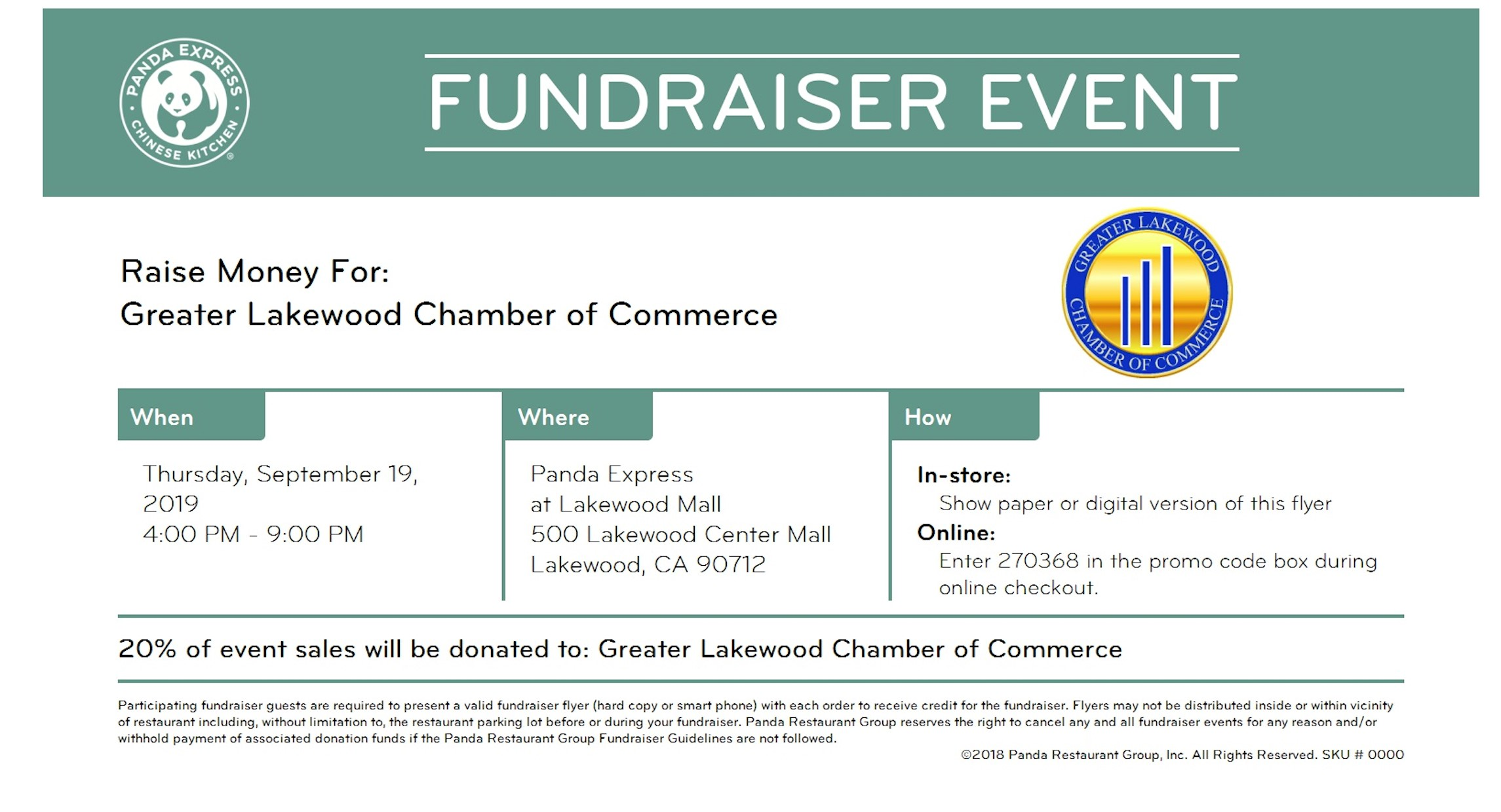 Panda Express flyer with fundraiser information for September 19, 2019 4pm to 9pm. 20% of event sales will be donated to Greater Lakewood Chamber of Commerce