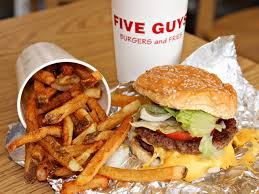 Five Guys burger, fries, and soda