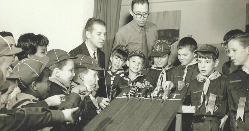 Historic Pinewood Derby photo with the Boys of America- Long Beach. First one took place in 1953 in Manhattan Beach's Scout House