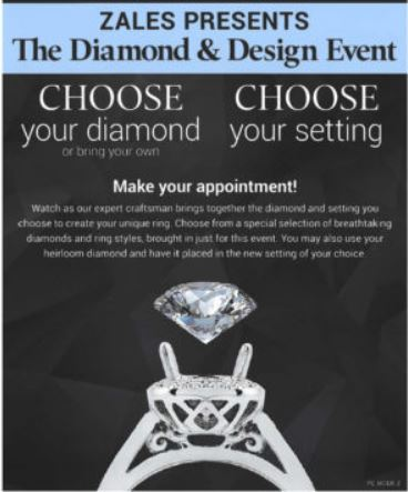 Flyer for Zales Diamond & Design Event. Picture of a diamond stone getting set into a ring