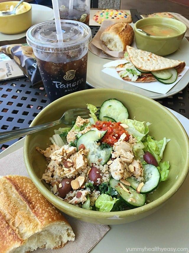 Panera Bread salad, soup, sandwich, bread, and soda