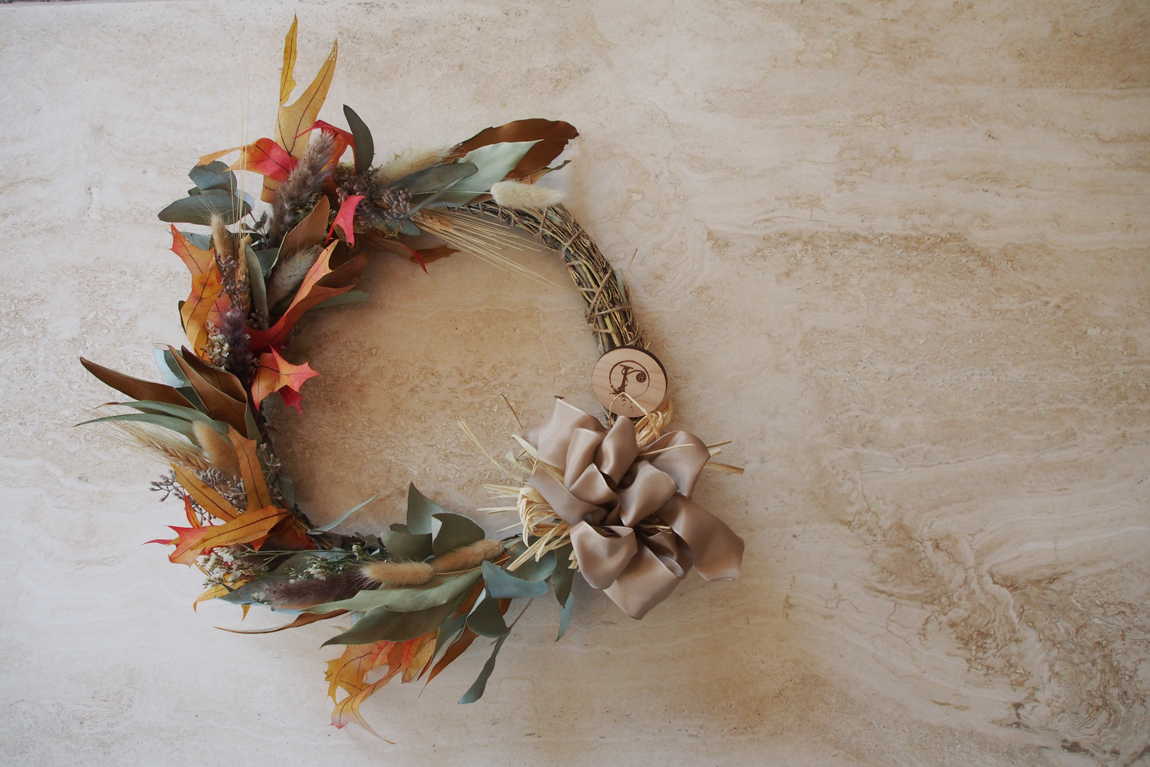 Floral Wreath laid out on a table