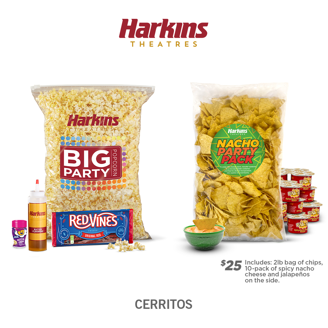 Harkins Party Popcorn bag with Candy Placed next to a Nacho Party Pack of Chips and Cheese Sauce.  $25 Includes: 2lbs bag of chips, 10-pack of spicy nacho cheese and jalapenos on the side.
