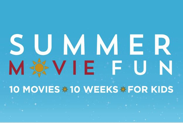 Summer Movie Fun Logo on a blue background - 10 movies - 10 Weeks - For Kids in white text font
