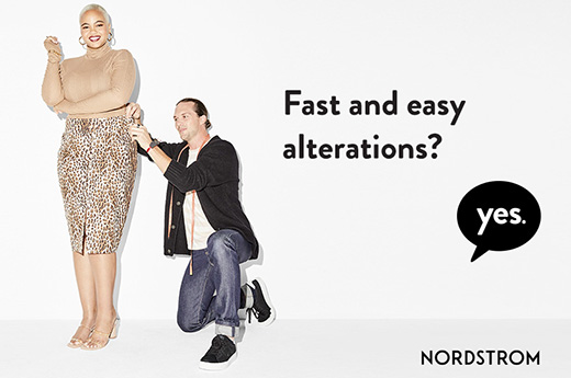 woman having her skirt altered by a man measuring the waist with text Fast and easy alterations? Yes. Nordstrom