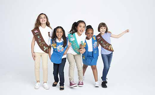 image of five girl scouts