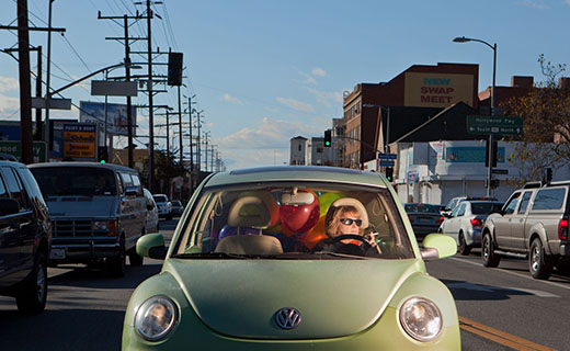 Original photography of Jonathan Michael Castillo with woman in a green volkswagen bug car