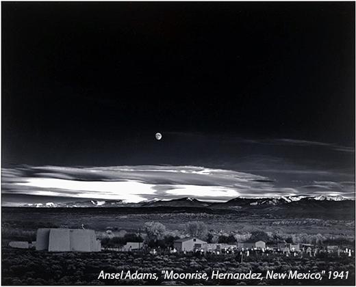 "Ansel Adams, ""Moonrise, Hernandez, New Mexico,"" 1941."