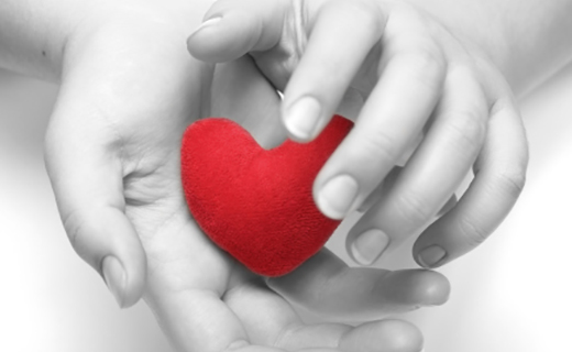 black/white image of hands clasping a red heart