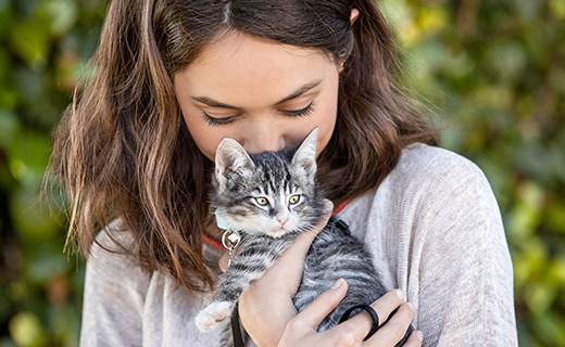 woman with grey and white kitten