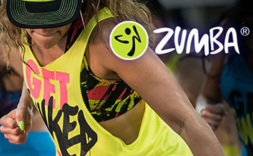 Zumba dancer and logo.