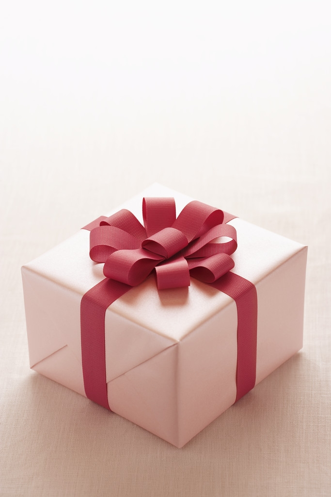 Christmas Gift wrapped in white paper with red ribbon.