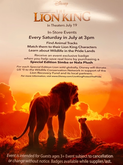 A Flyer with a scene from The Lion King. There are two lions on top of a rock. There is a sunset in the background.
