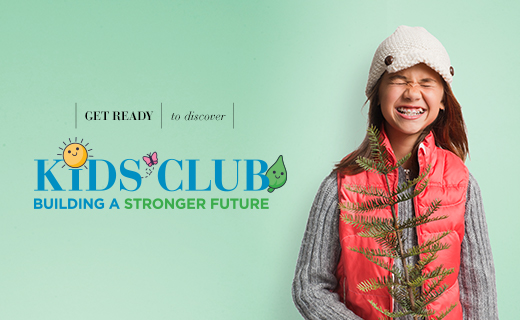 Flyer announcing Kids Club. With a child with a red vest and hat.