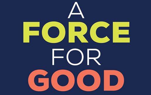 A force for good on a navy blue background.