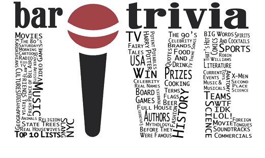 Bar Trivia words spelling the word LIVE with a microphone as the I.