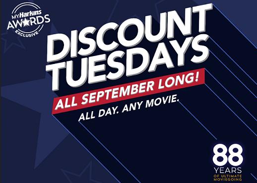 Harkins Awards Exlusive Discount Tuesdays All September Long