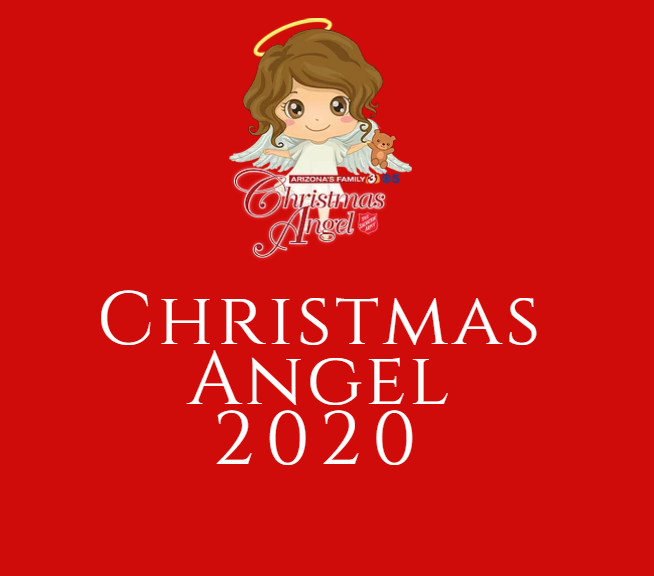 "Child-like angel holding a teddy bear on a red background reading ""Christmas Angel 2020"""