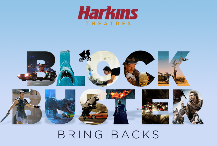Harkins Theatres Blockbuster Bring Backs with pictures of various movies such as The Gladiator and Batman.