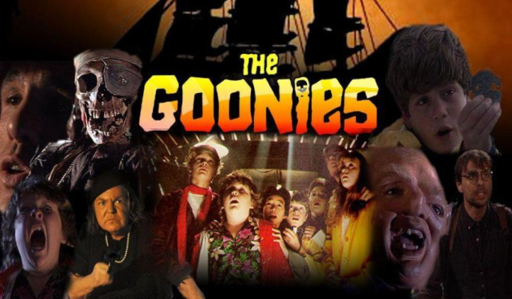 The Goonies movie poster with cast including a pirate skeleton and screaming child.