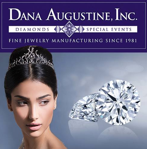 """Woman in diamond tiara and two large free standing diamonds. Graphic says """"Dana Augustine, Inc. Diamonds & Special Events. Fine Jewelry Manufacturing Since 1981."""