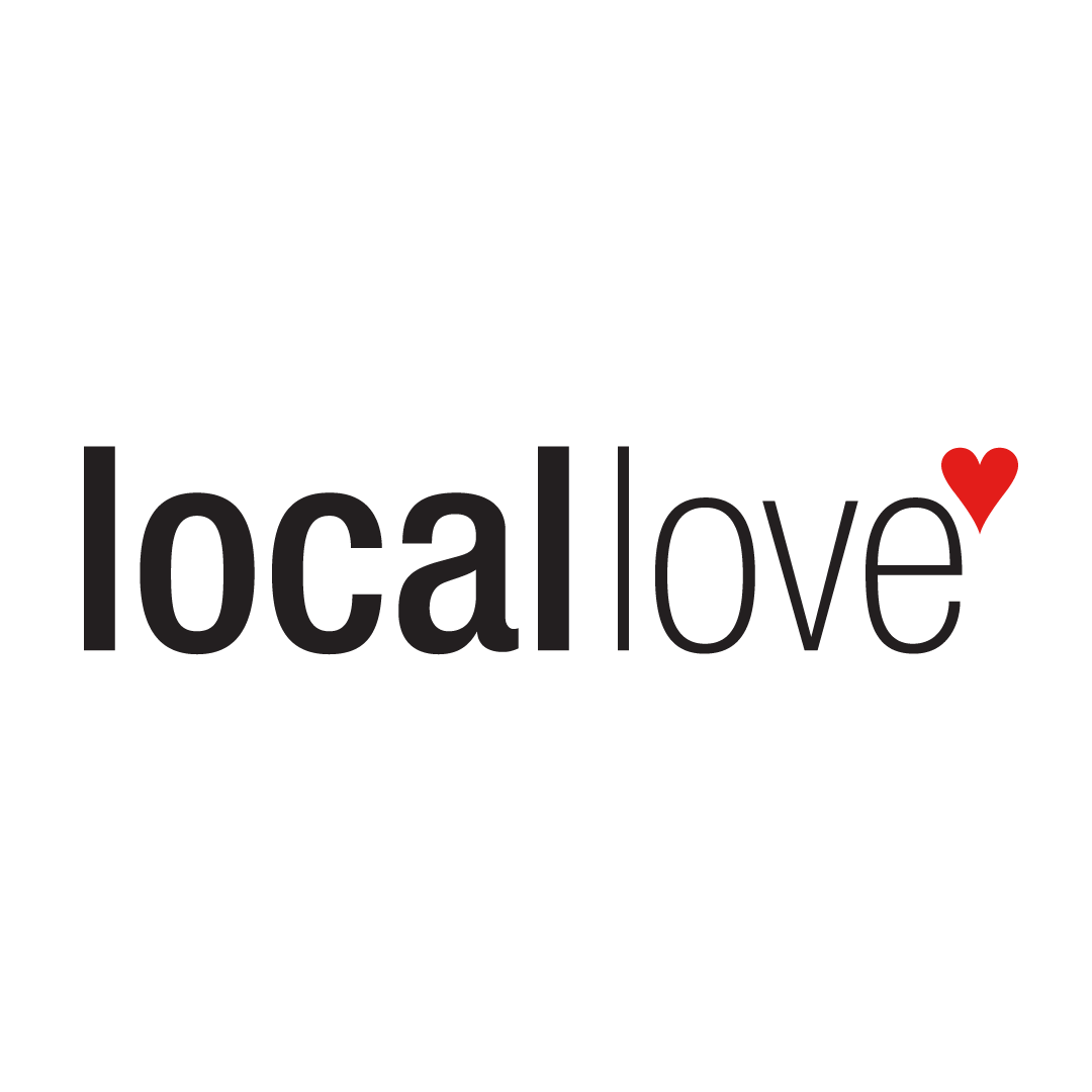 """Peach colored graphic with """"show your love for local"""""""