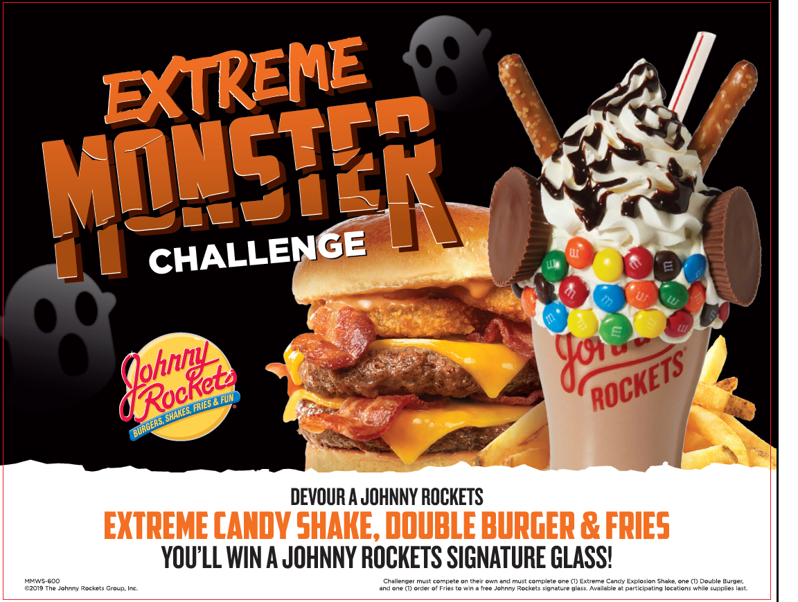 Extreme candy shake with a double burger behind it on a monster and ghost themed flyer.