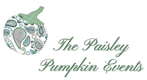 Green, blue and gray pumpkin with paisley accents.
