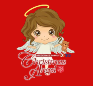 Child-like angel holding a teddy bear on a red background.