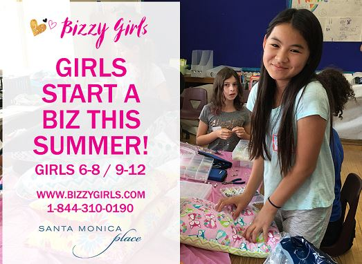 "Bizzy girl ""Girls start a biz this simmer!"" Girls 6-8/9-12. For more information visit www.bizzygirls.com or call 844.310.0190. Young girls entreprenuerial camp being held in the community room."