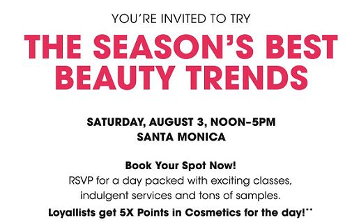 "Wording: ""You're invited to try THE  SEASON'S BEST BEAUTY TRENDS"" (caps, bold, hot pink font)