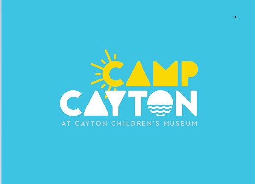 Cean blue background with 'Camp Cayton' logo at Cayton Children's Museum