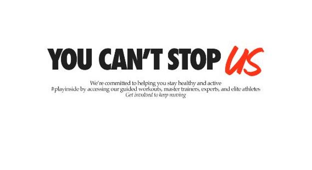 """White background, with black and red font wording displayed """"You can't stop us."""""""