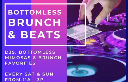 event info plus dj sound deck playing beats,