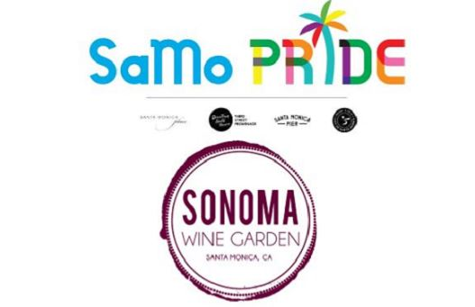 SaMo Pride promotional image with logos of partners Santa Monica Place, Downtown Santa Monica/Third St. Promenade, Santa Monica Pier, City of Santa Monica and retailer hosting event: Sonoma Wine Garden