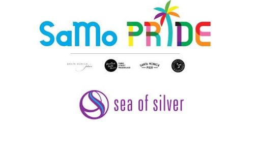 SaMo Pride promotional image with logos of partners Santa Monica Place, Downtown Santa Monica/Third St. Promenade, Santa Monica Pier, City of Santa Monica and retailer hosting event: Sea of Silver.