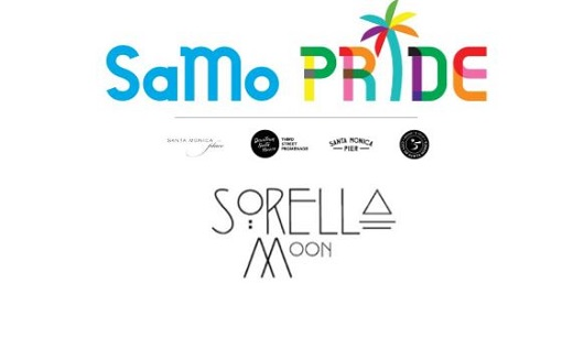 SaMo Pride promotional image with logos of partners Santa Monica Place, Downtown Santa Monica/Third St. Promenade, Santa Monica Pier, City of Santa Monica and retailer hosting event: Sorella Moon.