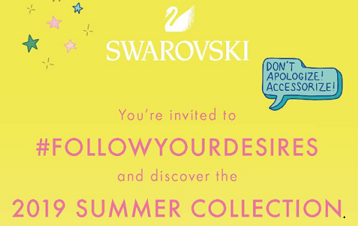 "Yellow background, swarovski swan logo plus wording for event, ""You're invited to #FOLLOWYOURDESIRES and discover the 2019 Summer Collection""."