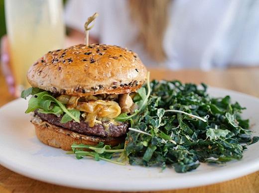 burger and side kale salad