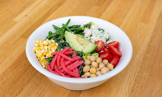 Good Earth Kale Cobb:  avocado, tomato, asparagus, watermelon radish, garbanzo bean, dried sweet corn, gorgonzola, cashew poblano ranch