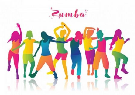 Neon colored silhouettes of people dancing with title Zumba up top.
