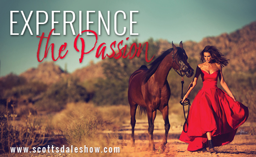 Woman in a red dress walk an Arabian Horse. Experience the Passion