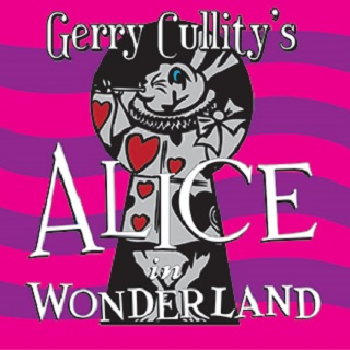 Alice In Wonderland Bunny inside a key hole Pink and purple stripes in background