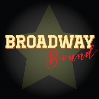Broadway Bound in gold and red lettering with star in background