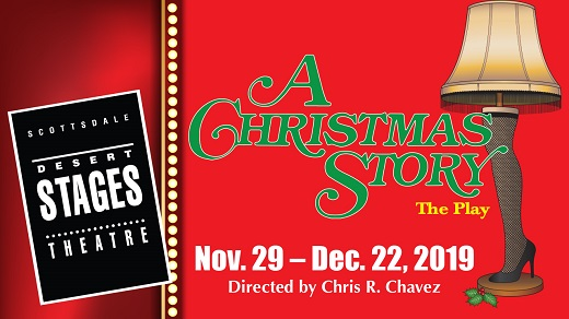 "Desert Stages Theatre logo with a red background and ""A Christmas Story"" written in grean with a leg lamp on the right side"